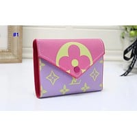 """LV"" Louis Vuitton women's  color matching print tri-fold envelope short wallet"