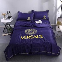 Purple Comfortable Soft VERSACE Bedding Blanket Quilt Coverlet Pillow Shams 4 PC Bedding Sets Home Decor