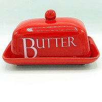 Red Double Butter Covered Dish Create by Just Mugs