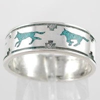 Southwestern Native American Style Running Wolf Band Ring in Sterling Silver with Turquoise Chip Inlay for Men or Women, size 9, #11108