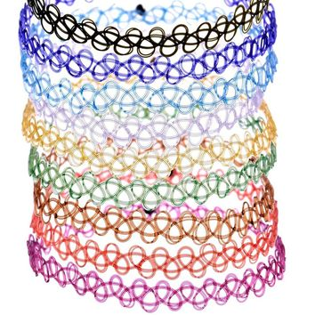 BeWild Brand® 5 Pack of Vintage Stretch Retro Henna Elastic Tattoo Choker Necklaces (Assorted Colors)