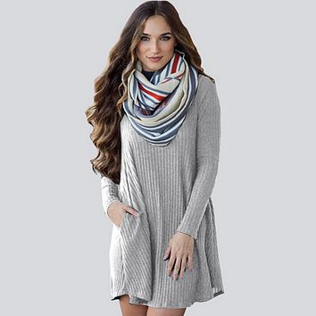 Fashion Long Sleeve Knit Dress With Pocket for Women Winter Autumn
