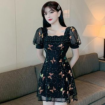 Elegant Women  Black Butterfly Sequined Dress Sweet Girls Puff Short Sleeve Casual Slim Party Dress Vestidos