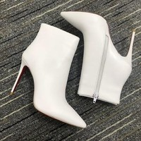 Christian Louboutin Cl Women Leather Ankle Boots Reference #14 - Best Deal Online