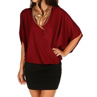 Sale-burgundy Bat Wing Surplice Top