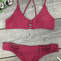 Cupshe Wine and Coffee Lace Up Bikini Set