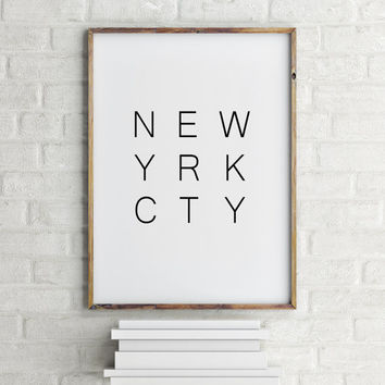 "Inspirational poster ""New york city"" Typography quote New york poster New york quote Wall artwork Home decor Room poster Printable poster"