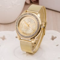 Stylish Gold Bracelet Watch Ladies Alloy Diamonds Bracelet Watch [6542366595]