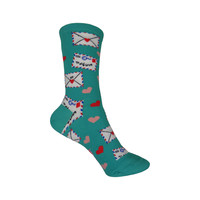 Love Letters Crew Socks in Jade