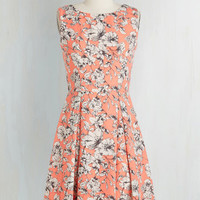 Mid-length Sleeveless A-line Garden Party Panache in Melon by ModCloth
