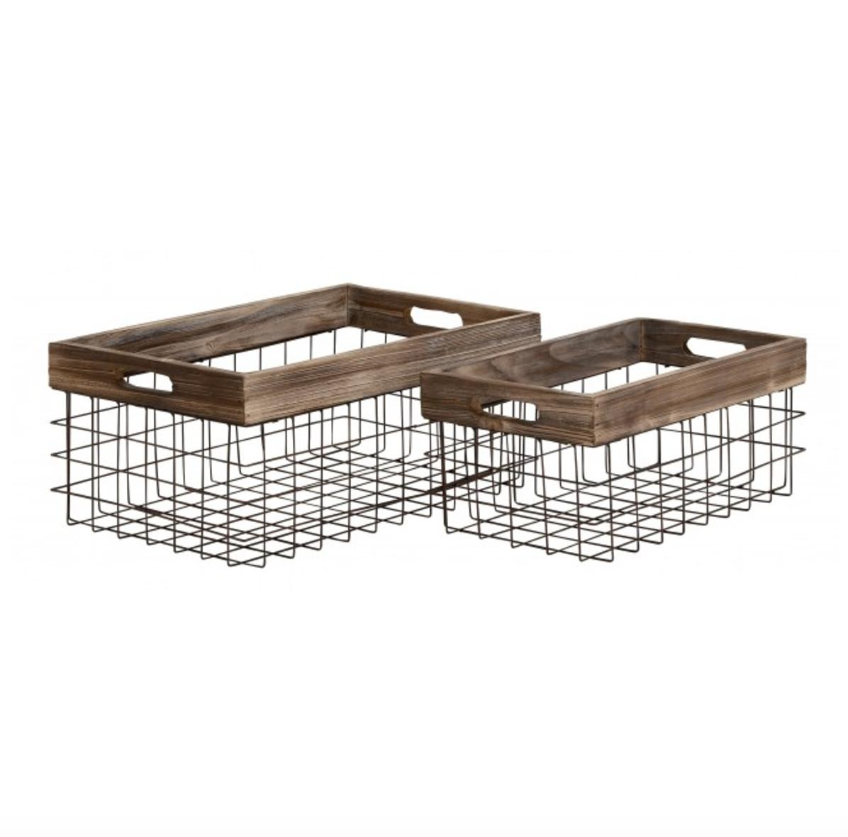 Image of Set of 2 Wood and Wire Baskets