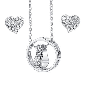 Eternal Love Heart and Ring Pendant Necklace and Earrings Set