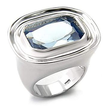 Silver Band Ring Womens 7X165 Rhodium 925 Sterling Silver Ring with Synthetic