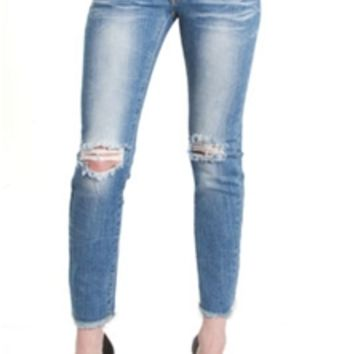 Machine Jeans Destructed Skinny with Frayed Hem DMC-1A5531