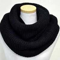 Black Knit Funnel Scarf + Christmas Gift -Necklace