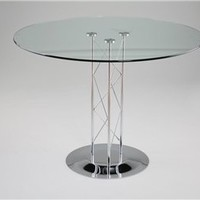 Trave Contemporary Round Glass Top Dining Table, Modern Dining Table, Dining Room Furniture: Nyfurnitureoutlets.com