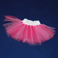 Double pink tutu- pink tutu, valentines day tutu, party dress tutu, birthday party tutu, pink toddler tutu, pink 12 month tutu, pink baby