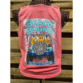 Southern Chics Apparel Beach Bound Jeep Dog Comfort Colors Girlie Bright T Shirt Tank Top