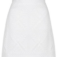 Quilted A-Line Skirt - White