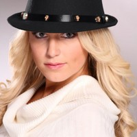 Black Carved Skull Studded Faux Leather Band Curved Brim Fedora @ Amiclubwear Hat Online Store: Women's Hat,Baseball Hat,Beanie Hat,Summer Hats,Cowboy Hats,Western Hats,Newsboy Cab Cap,Baseball Caps,Ladies Hats,Wool Felt Hats,Women's Dress Hats,Cloche Hat