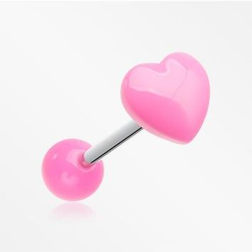 Adorable Puffy Heart Acrylic Top Barbell Tongue Ring