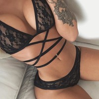 Hot Deal Cute On Sale Sexy Lace See Through Bikini Set Exotic Lingerie [10399797581]