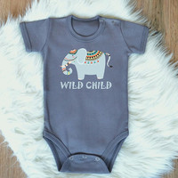 Wild Child Baby Romper. Cute Tribal Elephant Baby Bodysuit. Tribal Baby Clothes. Boho Baby Romper. Newborn Clothing. Infant Baby Romper