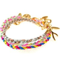 Multi Color Satin Cord Stack Bracelet with Charms