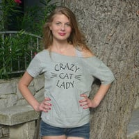 Crazy Cat Layby Shirt Loose Trendy clothing For Women Off The Shoulder Top  kitten meow Tumblr Fashion Funny Gift