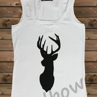 Women's Tank,Deer on a Tank Top Ladies Tank,Screen Printing Tank,Women's Tank,White Tank,Size S, M, L