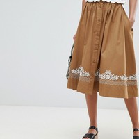 French Connection Embroidered Midi Skirt at asos.com