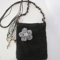 Cross Body Macrame Black Shoulder Tote  Bag with Grey Chiffon Flower and Rhinestone Accent Bags Purses Accessories