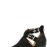Grand Plateau Black Strappy Ankle Boots