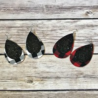 Buffalo Plaid and Glitter Layered Earrings