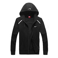 NIKE Women Men Unisex Cardigan Jacket Coat Black