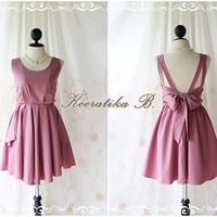 A Party - V Shape Style - Prom Party Cocktail Bridesmaid Dinner Wedding Night Dress Pale Rosy Brown Pink Nude Color Glamorous Cocktail Dress