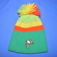 70s Snoopy Peanuts Youth Winter Knit Ski Beanie Hat
