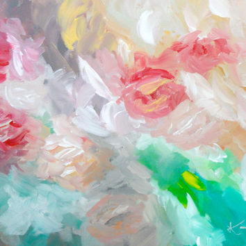 Abstract Original Painting 16 x 20 Floral Modern Art Contemporary Flowers Painting Stretched Canvas