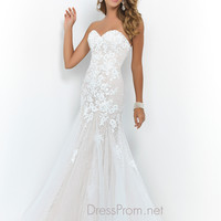 Nude Blush Mermaid Prom Gown 9954