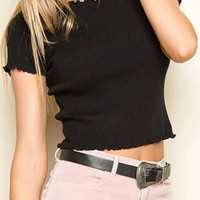 Knit Frilly Lettuce-edge Hem Crop Top in Black from mobile - US$15.95 -YOINS