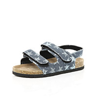 River Island Boys blue double strap flatbed sandals
