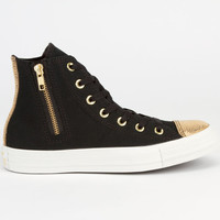 Converse Chuck Taylor Side Zip Hi Womens Shoes Black/Gold  In Sizes