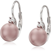 Sterling Silver, Pink Simulated Simulated Shell Pearl and Cubic Zirconia Leverback Drop Earrings