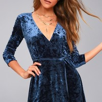 Shine of Your Life Navy Blue Crushed Velvet Wrap Dress