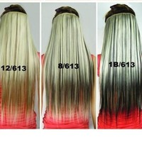 Fashionable Kanekalon Long Straight Synthetic Full Head Clip in Hair Extensions ch011-1B/613:Amazon:Beauty