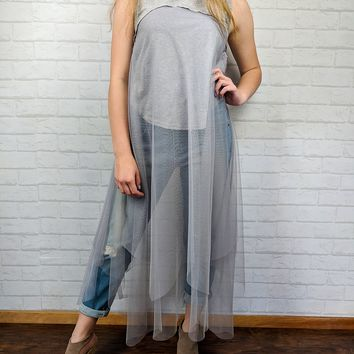 Long Tulle & Lace Tank - Heather - Small or Medium only