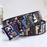 FENDI Hot Sale Trending Woman Men Stylish Double F Buckle Belt Leather Belt