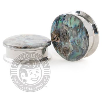 Abalone Inlay Threaded Steel Plugs