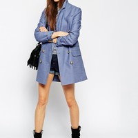 ASOS Pea Coat With Double Breasted Detail