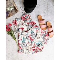 Festival Shop - Floral Print Two Piece Set - Ivory